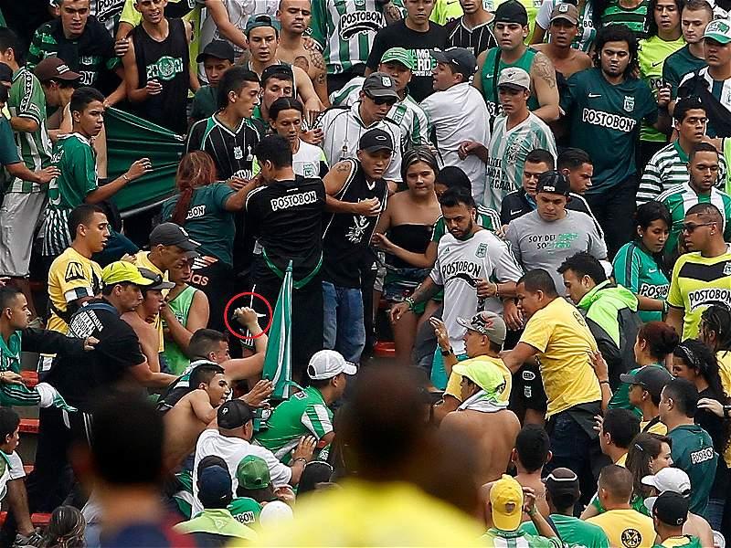 Los violentos enfrentamientos de las barras bravas se toman los estadios de Medellín y Manizales