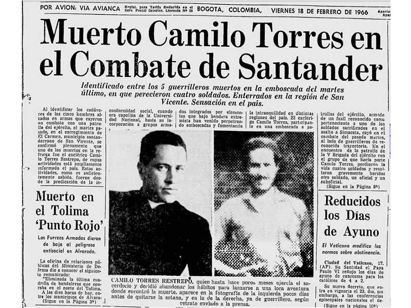 Así cubrió EL TIEMPO la muerte del guerrillero Camilo Torres, hace 51 años
