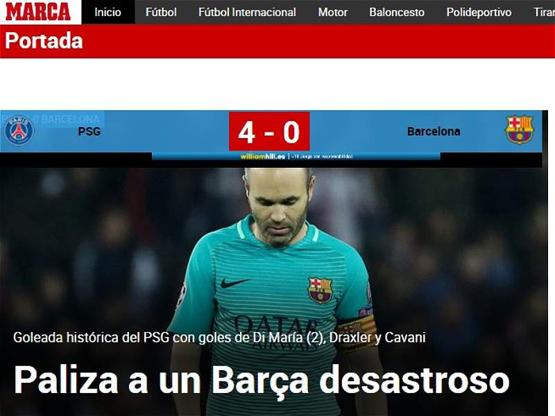 Así registraron las portadas del mundo la derrota del Barcelona