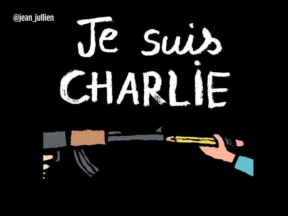 Con caricaturas y mensajes rinden homenaje a 'Charlie Hebdo'