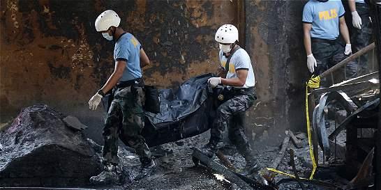 72 víctimas en un incendio en fábrica de zapatos filipina