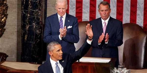 El presidente de los Estados Unidos Barack Obama durante el discurso de este martes en el Congreso.