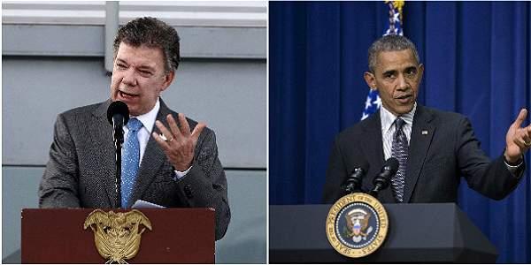 El presidente de Colombia, Juan Manuel Santos y el presidente de Estados Unidos, Barack Obama.