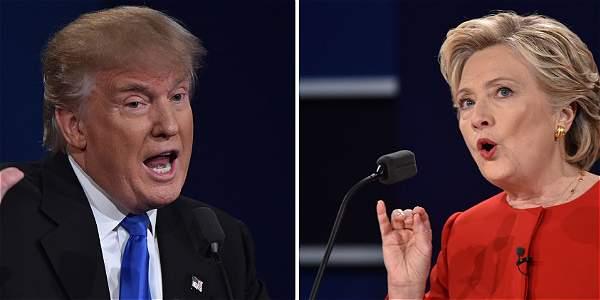 Los candidatos a la presidencia de Estados Unidos, la demócrata, Hillary Clinton (der) y su rival el republicano, Donald Trump.
