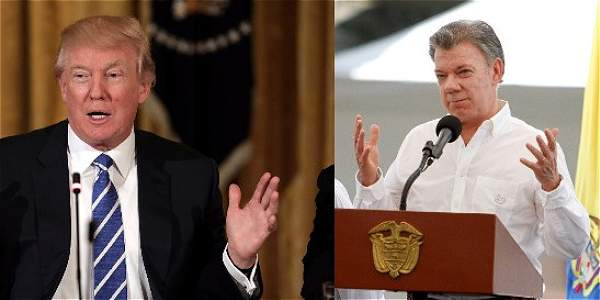 El presidente estadounidense, Donald Trump, y el mandatario colombiano, Juan Manuel Santos.