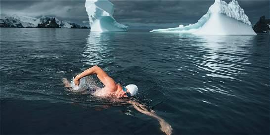 Activista nada en la Antártida para pedir protección oceánica