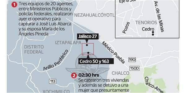 Mapa del lugar de la captura del alcalde
