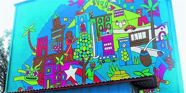 Barrio san miguel de santiago de chile con murales for Papeles murales en santiago de chile