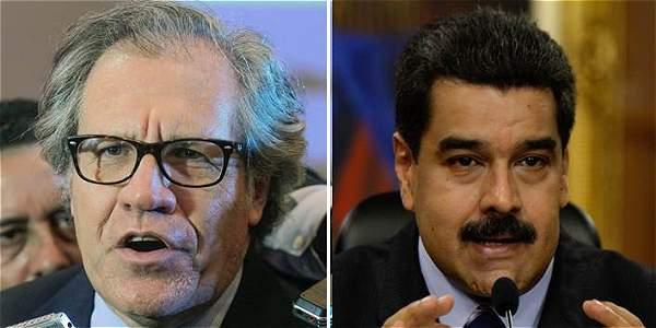 El secretario general de la OEA, Luis Almagro (izq.) y el presidente venezolano, Nicolás Maduro (der.).