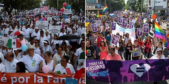 Las marchas en México a favor y en contra del matrimonio homosexual