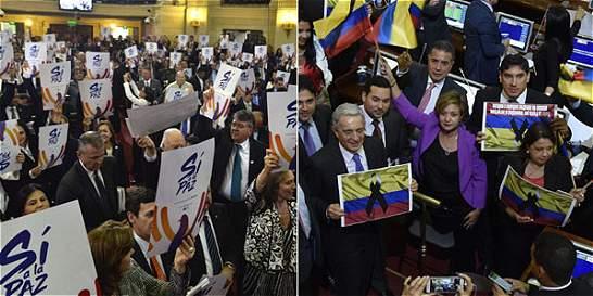 Vistosa batalla de carteles en la instalación del Congreso