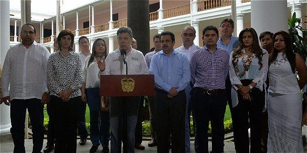 El presidente Juan Manuel Santos durante la presentación de dos documentos Conpes en Cúcuta.