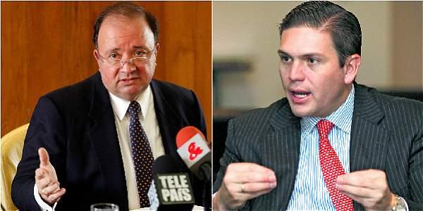 El hoy embajador de Colombia en Washington, Luis Carlos Villegas (izq), será Ministro de Defensa en reemplazo de Juan Carlos Pinzón (der), que pasa de ministro de esa cartera a la embajada en EE. UU.