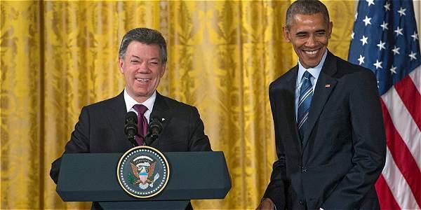 Reunión por el 'Plan Colombia' entre Juan Manuel Santos y Barack Obama, presidentes de Colombia y EE. UU. respectivamente.