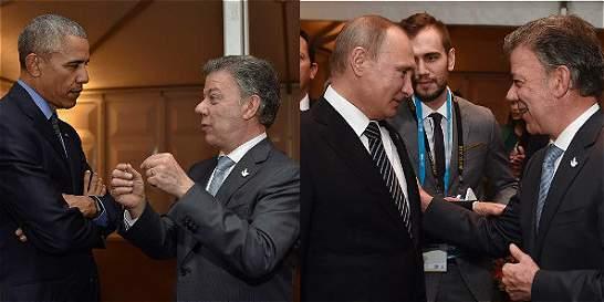 El encuentro de Santos con Barack Obama y Vladimir Putin