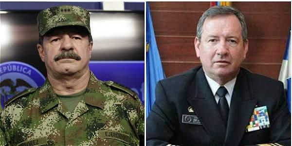El general Javier Flórez (Izq.) y el Almirante Henry Jhon Blain (Der.)
