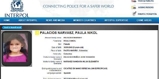 Interpol emite circular amarilla por niña desaparecida en Nariño