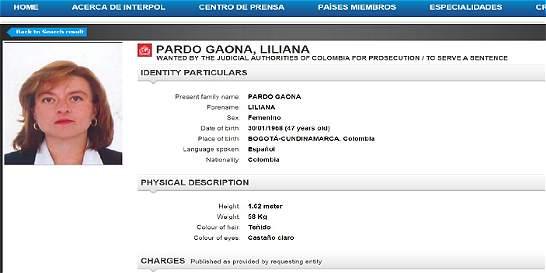 Interpol emite circular roja contra Liliana Pardo