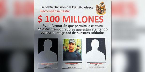 Ofrecen recompensa por francotiradores de las Farc