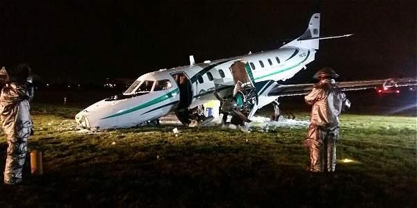Así quedó la aeronave en la que viajaba el Ministro del Interior.