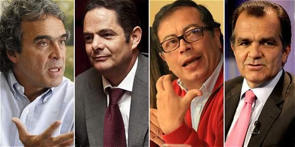 El exgobernador de Antioquia Sergio Fajardo, el vicepresidente Germán Vargas Lleras, el exalcalde de Bogotá Gustavo Petro y el director del Centro Democrático Óscar Iván Zuluaga.