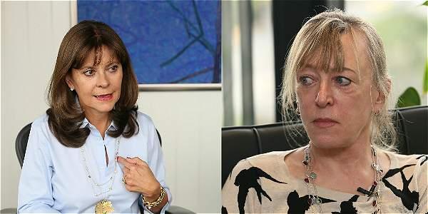 Marta Lucía Ramírez, excandidata presidencial, y Jody Williams, Nobel de Paz en 1997.
