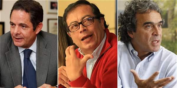 El vicepresidente Germán Vargas Lleras, el exalcalde de Bogotá, Gustavo Petro; y el exgobernador de Antioquia, Sergio Fajardo.