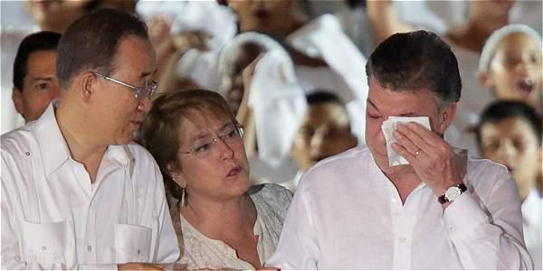 Video: el histórico discurso de Santos tras firmar la paz con las Farc