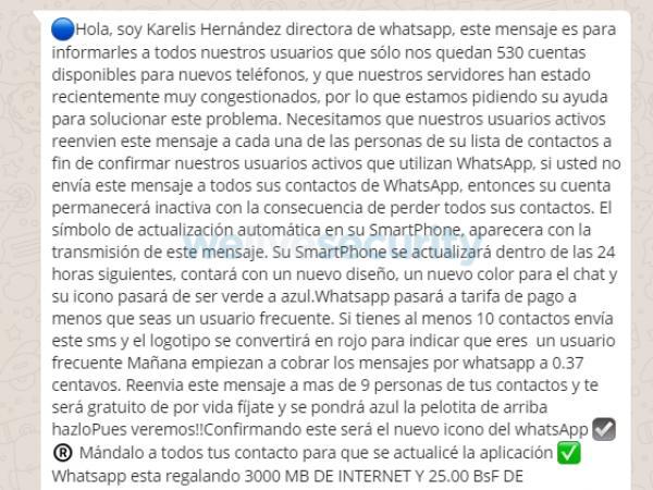 Engaños en WhatsApp