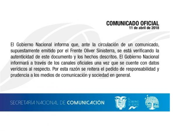 comunicado de Gobierno de Ecuador