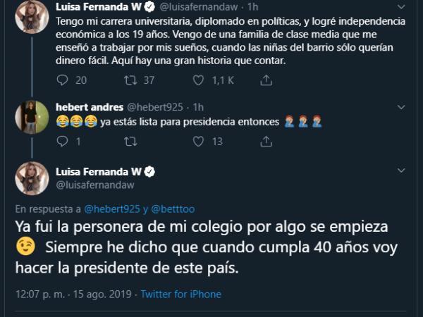 75f9625d74cd Luisa Fernanda W dice que quiere ser presidente de Colombia - Gente ...