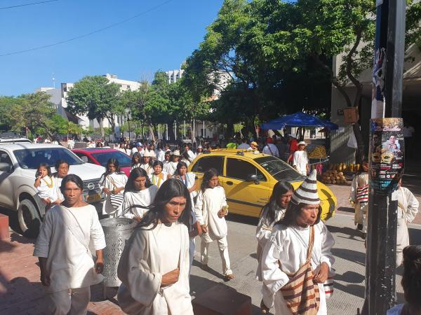 Koguis protestan en Santa Marta