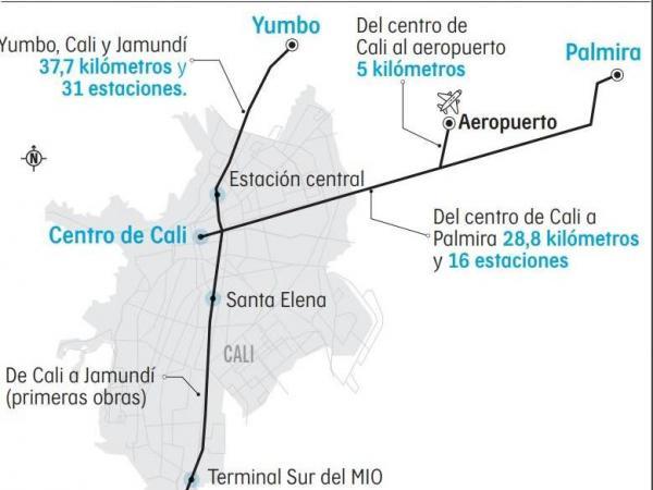 Mapa de los trayectos del tren ligero en el Valle del Cauca.