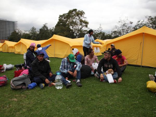 Migrantes en albergue