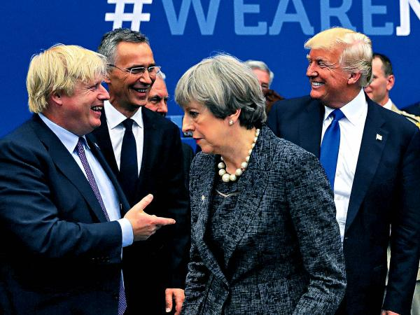 Boris Johnson, Theresa May y Donald Trump