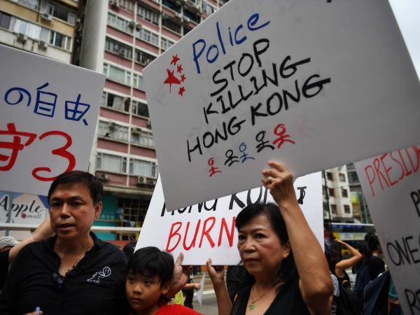 Manifestación  en Hong Kong 18 de agosto