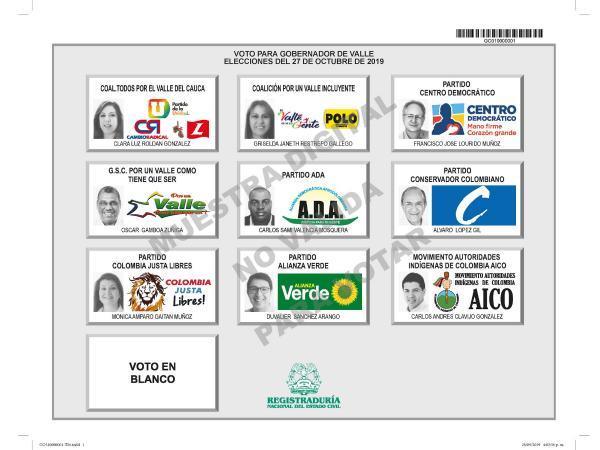 Tarjetón elecciones Gobernación del Valle
