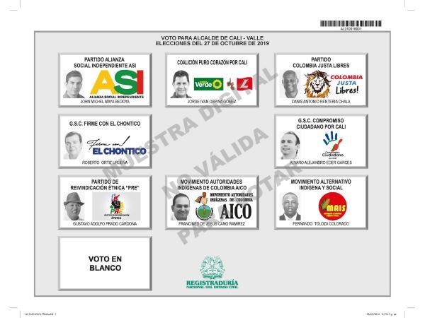 Tarjetón elecciones Alcaldía de Cali