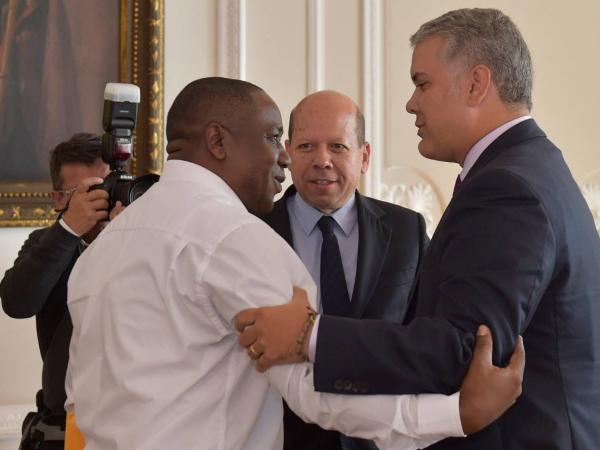 Leyner Palacios y el presidente Duque