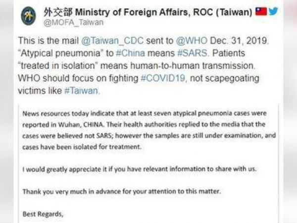 Este es el correo que Taiwan envió alertando sobre la 'neumonía atípica'