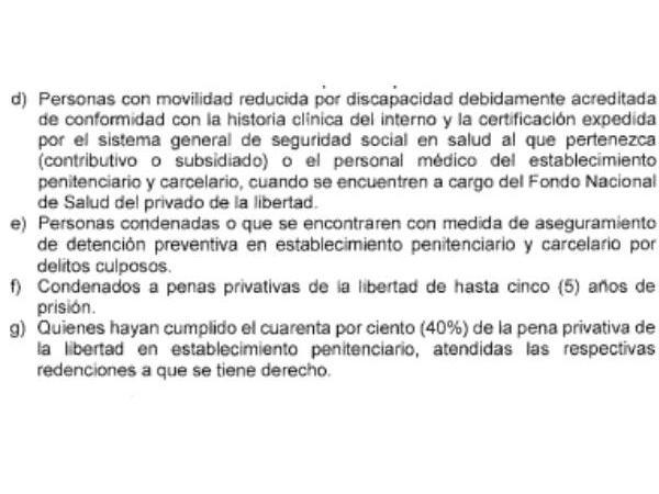 Decreto 546 presos
