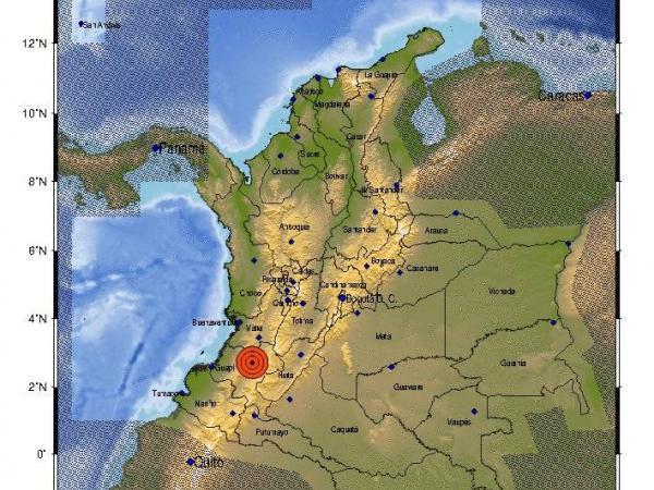 Mapa de localización del sismo, según Ingeminas.