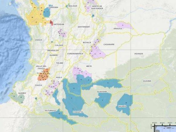 Mapa territorios de la JEP
