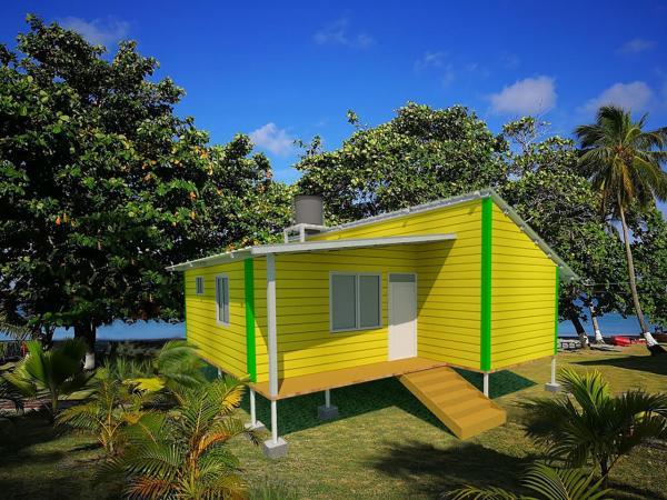 Casa con resistencia eólica