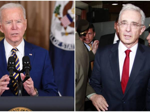 Joe Biden y Álvaro Uribe