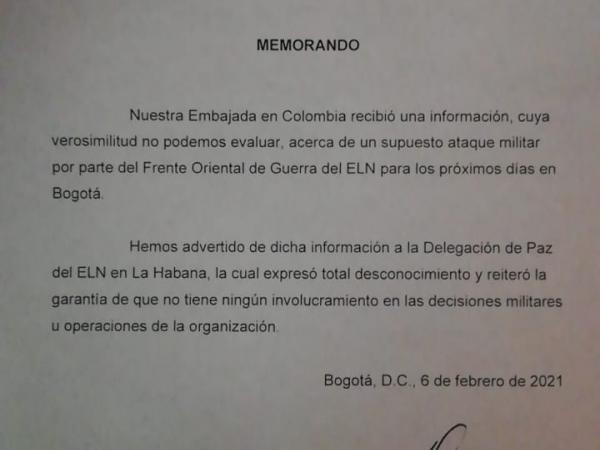Memorando del Embajador de Cuba