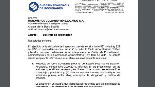 Monómeros: inspección de Supersociedades