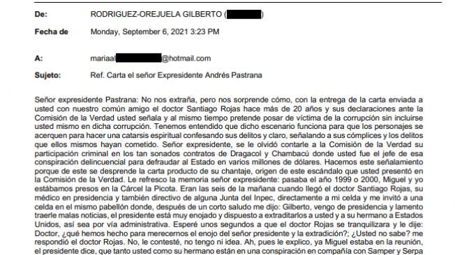 Carta de Rodríguez Orejuela a Pastrana