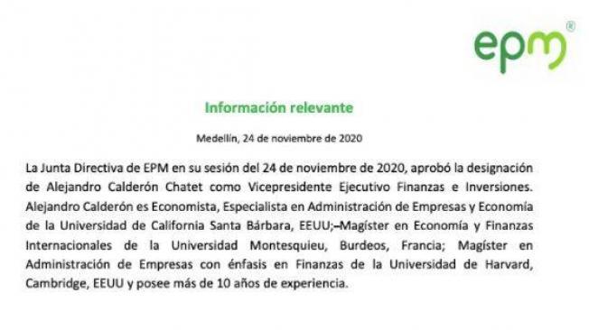 Presentación del gerente en EPM