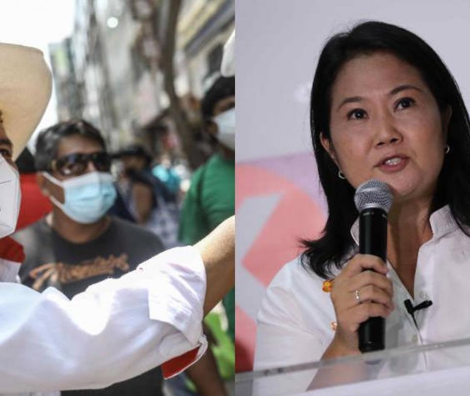 Elecciones Perú: Castillo y Fujimori se perfilan para segunda vuelta